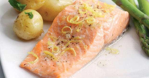 Receta Salmon al vapor con verduras